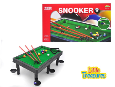 World Champion Mini Pool Set - portable pool ball game with 3 cue sticks, pocket holders, triangular frame, numbered balls and snooker table for a delightful one-on-one snooker game