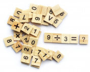 . 47PCS CRAFT WOODEN BOARD SCRABBLE TILES BLACK NUMBERS LETTERS toy