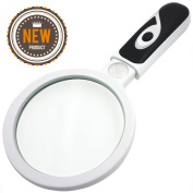 Fancii LED Lighted Handheld 2.5X Magnifying Glass with 20X Zoom - 8.9cm Premium Glass Lens Illuminated Magnifier For Reading, Inspection, Jewellery Appraisal, Coins, Stamps, Hobbies and Crafts