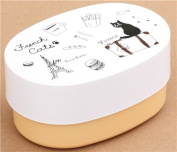 white light orange French cats lacquer Bento Box lunch box from Japan