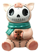 Furry Bones Bacon Ceramic Cookie Jar Collectible Kitchen Hosting Dining Accessory Cute Porky Pig Skeleton Figurine