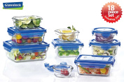 Glasslock Assortment Food Storage Glass Containers 18pc set Blue Lids Anti-Spill Proof Airtight ~ Microwave & Oven Safe