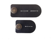Waist Extender Set of 2 for Men or Women (Black) with Bronze Button for Jeans, Pants, Skirts or Shorts