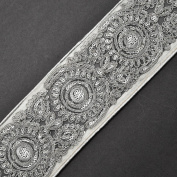 Beaded Sequin SILVER Metallic Lace Trim for Bridal, Costume or Jewellery, Crafts and Sewing, 7cm by 1 Yard, SMB-2042