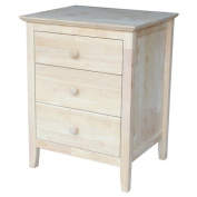 Ready-to-finish 3-drawer Nightstand with Butcher Block Surface