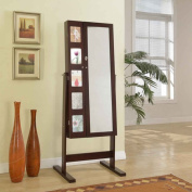 Artiva USA 160cm Deluxe Double Doors Expresso Jewerly Armoire Chevor Mirror with Photo Frame