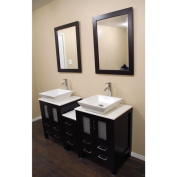 Espresso Oak 150cm Bath Vanity Cabinet Combo with Marble Top and Mirror