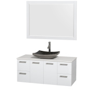 Wyndham Collection Amare 120cm Glossy White/ White Stone Single Vanity with 120cm Mirror