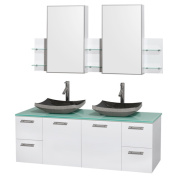 Wyndham Collection Amare 150cm Glossy White/ Green Glass Double Vanity with Medicine Cabinet