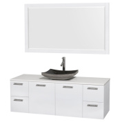Wyndham Collection Amare 150cm Glossy White/ White Stone Single Vanity with 150cm Mirror