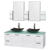 Wyndham Collection Amare 150cm Glossy White/ Green Glass Double Vanity with Medicine Cabinet and Gloss Sinks