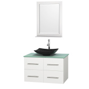 Wyndham Collection Centra White 90cm Single Green Glass Bathroom Vanity with Mirror