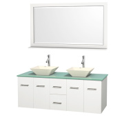 Wyndham Collection Centra 150cm Double Bathroom Vanity in White, w/ Mirror