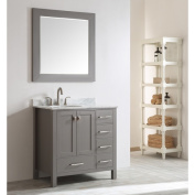 Eviva Aberdeen 90cm Transitional Grey Bathroom Vanity with White Carrera Countertop and Square Sink