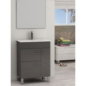 Eviva Cup® 60cm Grey Modern Bathroom Vanity with White Integrated Porcelain Sink