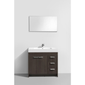 Eviva Lugano White Integrated Acrylic Sink Grey Oak Modern 90cm Bathroom Vanity