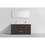 Eviva Lugano White Integrated Acrylic Double Sink Grey Oak Modern 150cm Bathroom Vanity