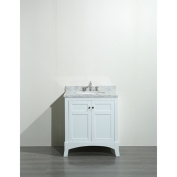 Eviva New York 80cm White Bathroom Vanity, with White Marble Carrera Countertop, Sink