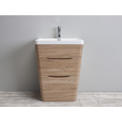 Eviva Victoria White Integrated Acrylic Sink White Oak Modern 60cm Bathroom Vanity