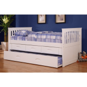 Twin Rake Bed with 3 Drawers and Trundle