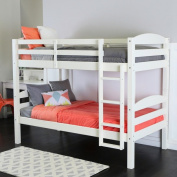 Twin Over Twin Solid Wood White Bunk Bed