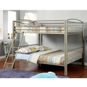 Furniture of America Olivane Modern Metallic Gold Full-Full Bunk Bed