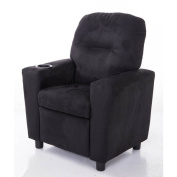 Comfortable KR2056BK Microfiber Kids Recliner with Cup Holder