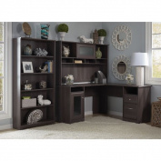 Bush Furniture Cabot L-Desk with Hutch and 5 Shelf Bookcase