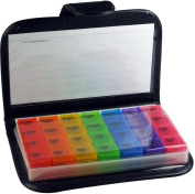 Easy Open 7 Day Pill Box   Medication & Prescription Organiser with Leather Travel Case, Black