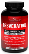 Resveratrol Supplement - 1400mg Extra Strength Formula with Green Tea Extract, Grape Seed Extract, Red Wine Extract- 60 veggie capsules - Made in USA