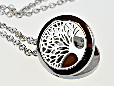 Tree of Life Hypoallegenic 316l Surgical Stainless Steel Aromatherapy Essential Oil Diffuser Necklace Pendant Locket Jewellery Gift Set on 60cm Chain