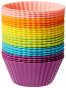 Freshware Silicone Standard Round Reusable Cupcake and Muffin Baking Cup (Pack of 24), Six Vibrant Colours