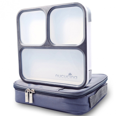 Nucucina Slim Bento Lunch Box Set - All-in-one . Leakproof Food Container For Adults - Premium Square Design With Insulated Bag And Cutlery - Dishwasher Microwave Safe - Modern Take On A Classic
