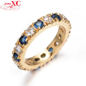 GDSHOP. Fine Jewellery New Blue & White Sapphire AAA Zircon Lady's Wedding Rings anel 14KT Yellow Gold Filled Ring Size 8