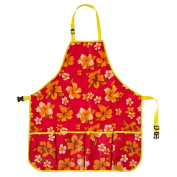 oGrow® High Quality 'Large' Gardener's Tool Apron With Adjustable Neck And Waist Belts - Raspberry Floral
