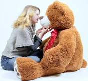 1.5m Very Big Smiling Teddy Bear Five Feet Tall Cookie Dough Brown Colour with Bigfoot Paws Giant Stuffed Animal Bear