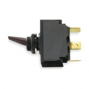 Hubbell Wiring Systems M123SP Standard Toggle Switch with 1 Key, Single Pole, Double Throw, On/Off/On, 12 VDC, Black