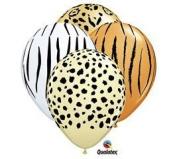 Safari Print Zebra Leopard Tiger Cheetah Print Latex Party Supply Balloons by Qualatex