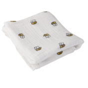 Breathable Cotton Gauze Baby Blanket Summer 110cm x 110cm Bee Pattern