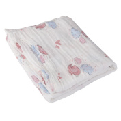 Breathable Cotton Gauze Baby Blanket Summer 110cm x 110cm Pink Elephant