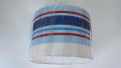 """16""""/40 cm Paige stripes Blue ,Red and White light shade / lampshade..Handmade."""