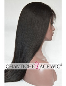 Chantiche.5a Brazilian Remy Human Hair Wigs Light Yaki Straight Lace Front Wigs with Baby Hair 130% Density 41cm #1B Medium Size Cap Medium Brown Lace by Chantiche Lace Wig