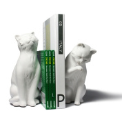 Cat Bookend Set - White