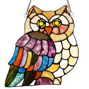 Stained Glass Hoot's Hoot's Owl 28cm Window Panel