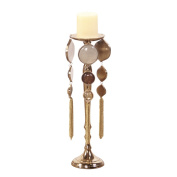 Allan Andrews Goldtone Plated Aluminium Candle Holder with Multicolor Medallions, Small