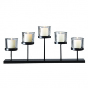 Adeco Metal Glass Candle Holder Stand