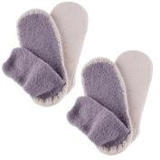 (2 Pair) Comfortable Non-Confining Men's Moccasin Slipper Socks Non Skid