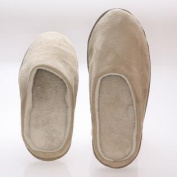 Men's Memory foam Slippers - Beige Suede micro fleece slippers with Side Stitches 7-8