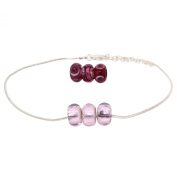 Bodylicious Sterling Silver Anklet with Interchangeable Glass Beads