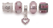 Bling Rocks Pink Silver Charm Bead Set Of 5 For Pandora Troll Chamilia Style Charm Bracelets Gift Wrapped